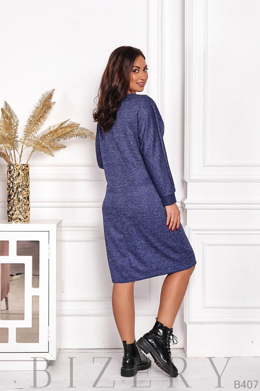 Элегантное платье из ангоры в синей расцветке B407