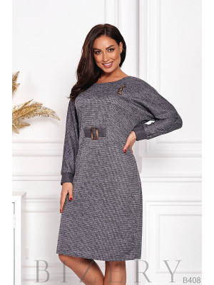 Элегантное платье из ангоры в серой расцветке B408