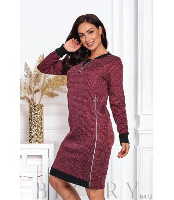 Платье с декоративными молниями B412
