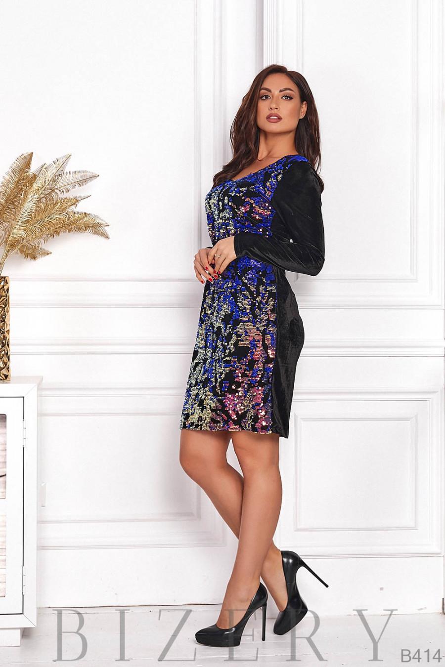 Шикарное вечернее платье с пайеткой B414