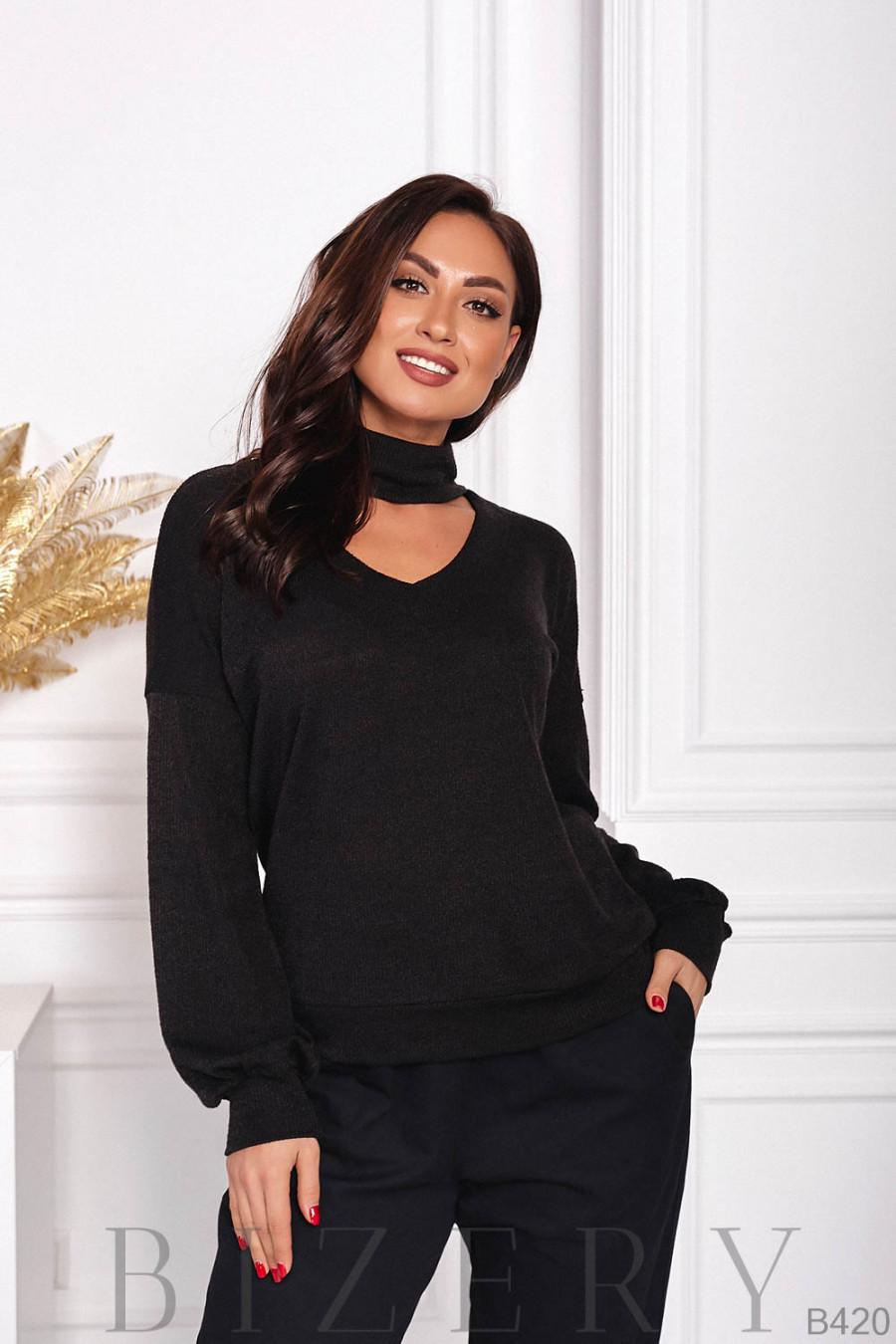 Тёплый нежный свитер в чёрном цвете B420