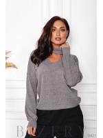 Тёплый нежный свитер в сером цвете B421