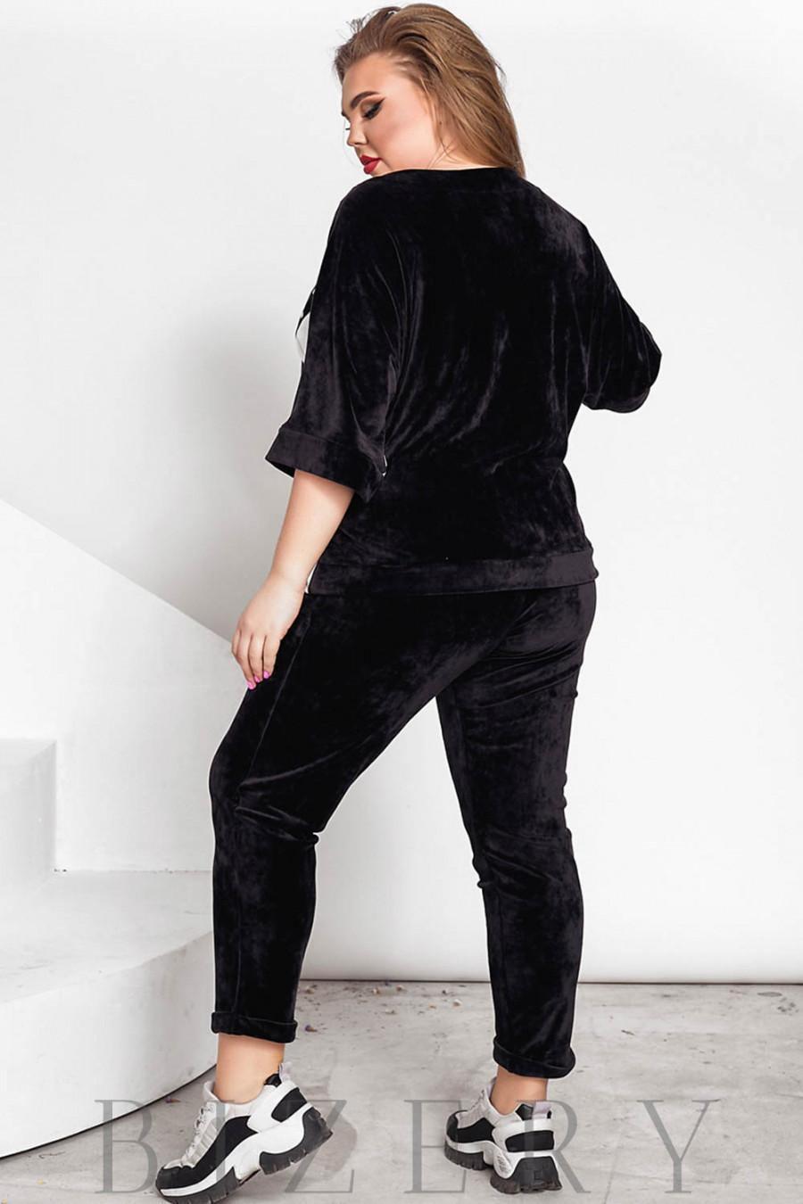 Велюровый спортивный костюм черный В711