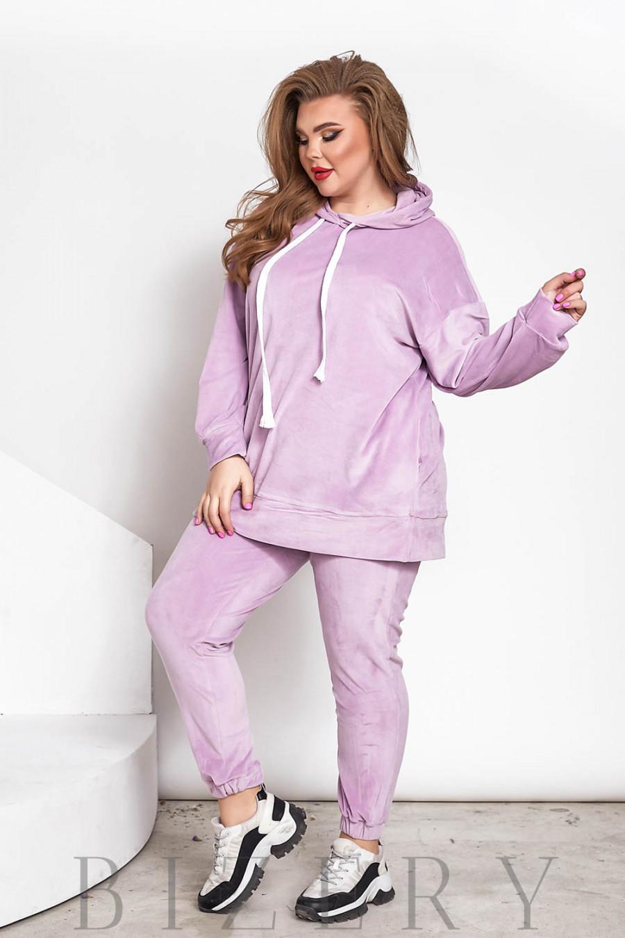 Стильный велюровый костюм plus size лиловый В715