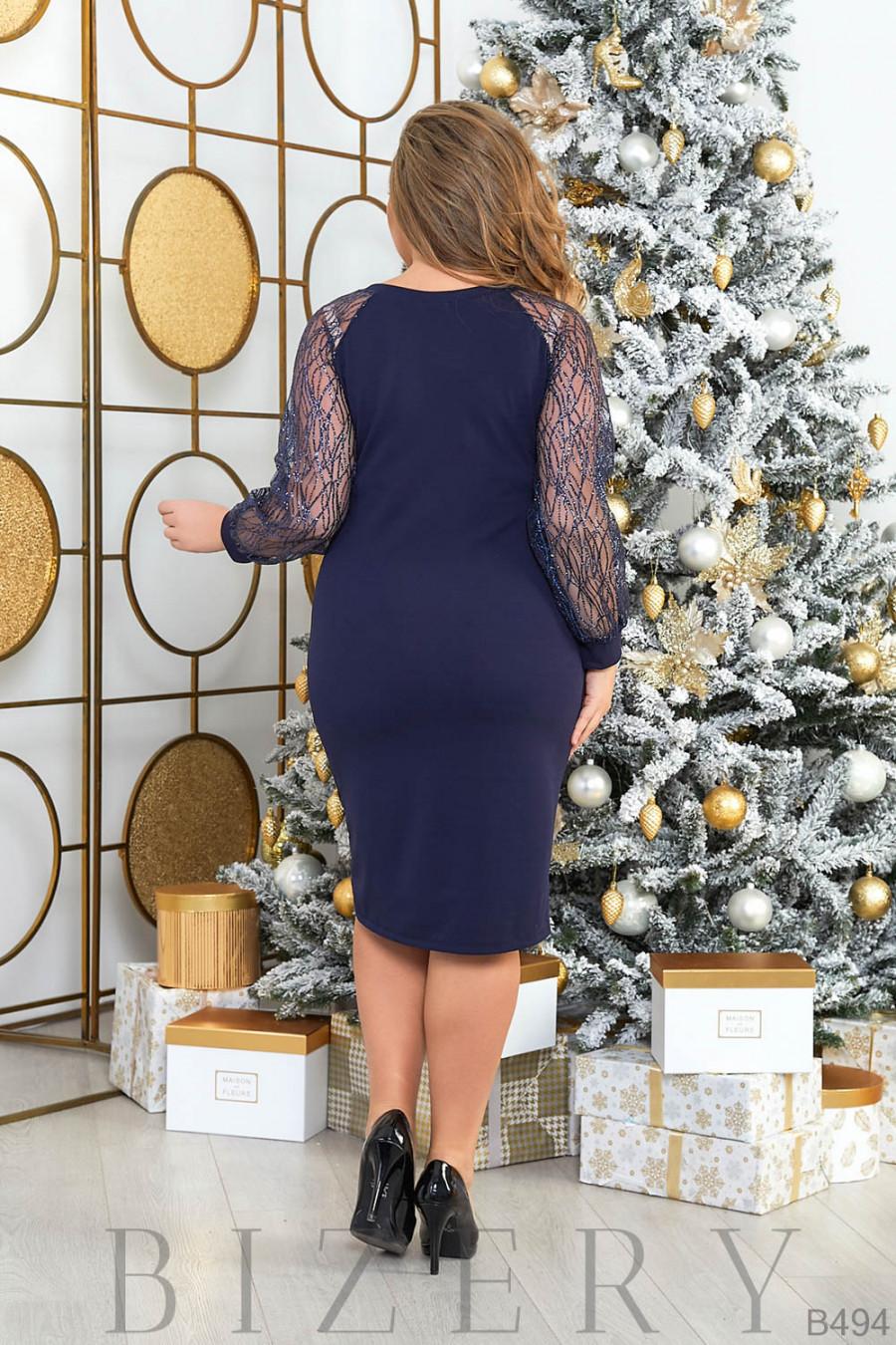 Платье в тёмно-синем цвете B494