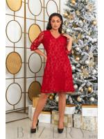 Гипюровое платье в красном цвете B495