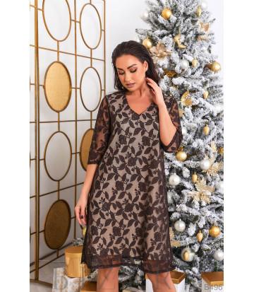 Гипюровое платье в чёрном цвете B496