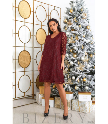 Гипюровое платье в бордовом цвете B497