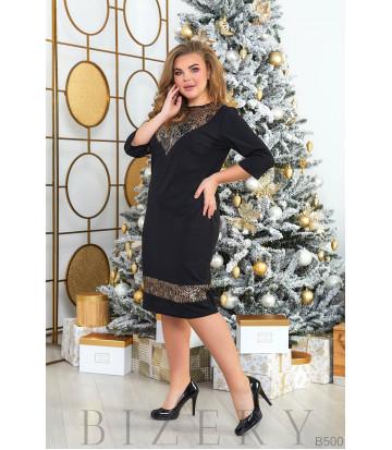 Платье с пайетками в чёрном цвете B500