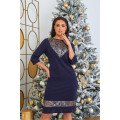 Платье с пайетками в тёмно-синем цвете B501