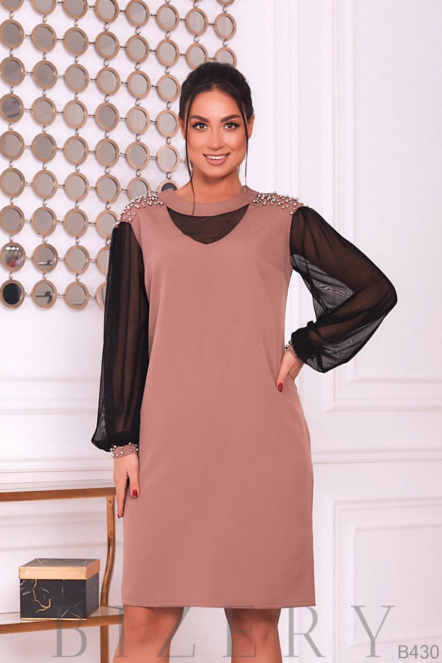 Коктейльное платье в бежевом цвете B430