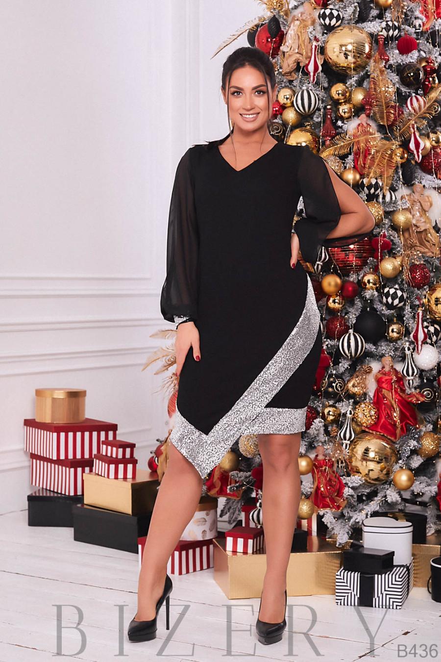 Вечернее чёрное платье украшено серебристыми пайетками B436