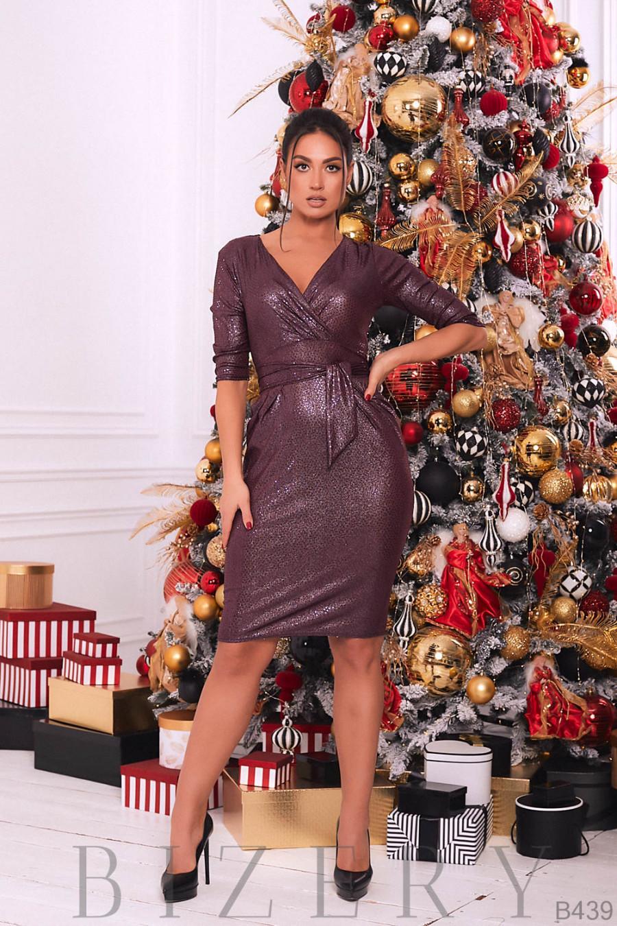 Платье вечернее с V-образным вырезом цвет бордо B439