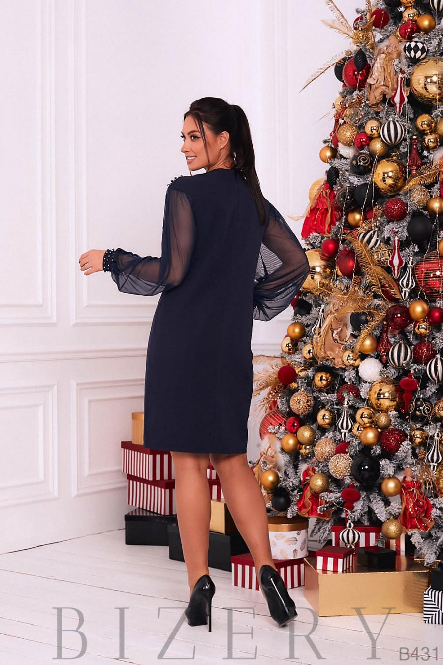 Коктейльное платье в тёмно-синем цвете B431