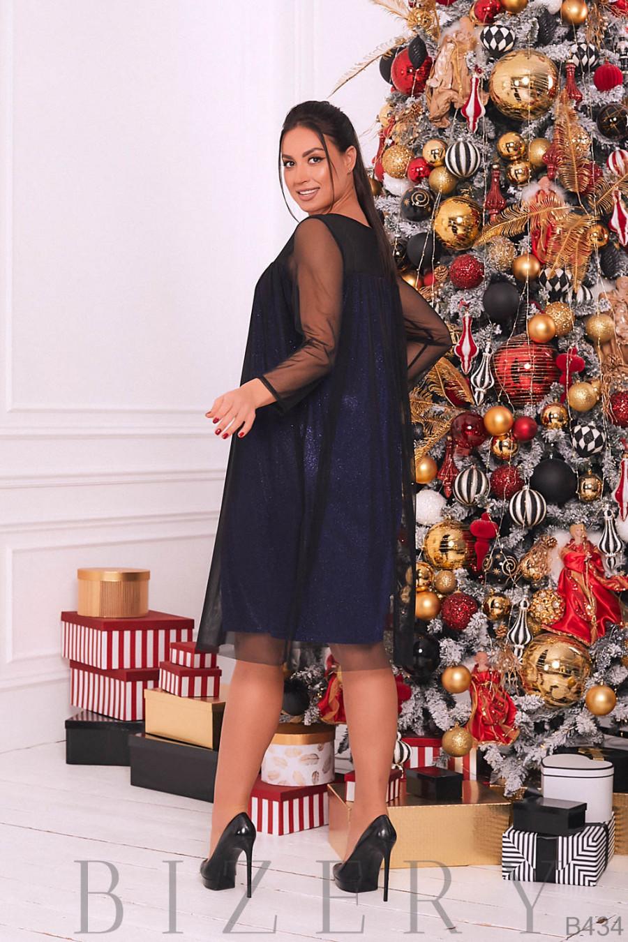 Нарядное платье с синим люрексом B434