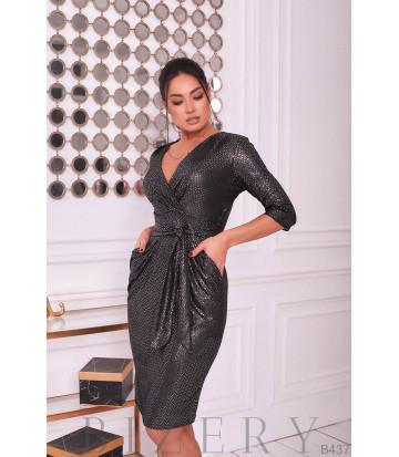Платье вечернее с V-образным вырезом цвет графит B437