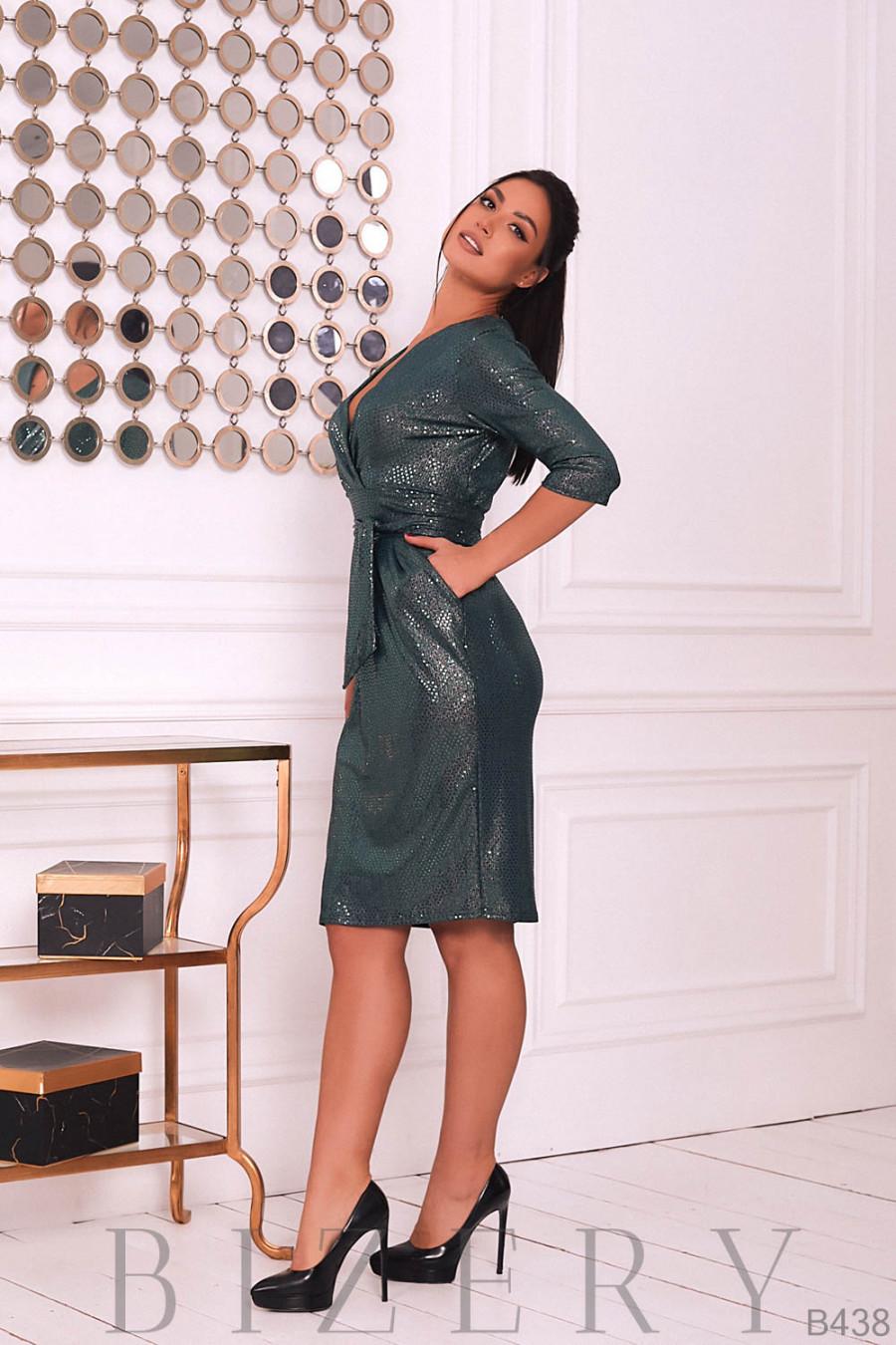 Платье вечернее с V-образным вырезом цвет изумруд B438