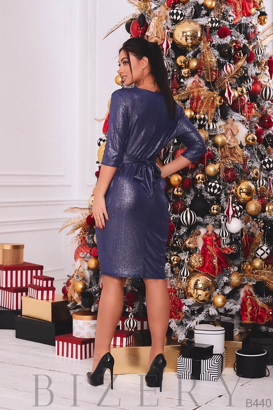 Платье вечернее с V-образным вырезом цвет синий B440