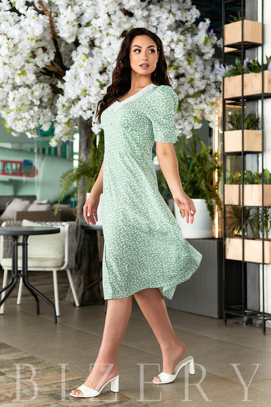 Нежное летнее платье зеленое В806