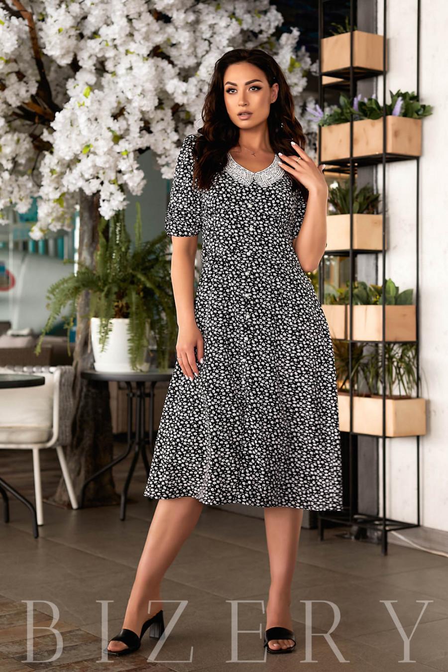 Нежное летнее платье черное В833