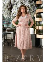 Нежное летнее платье бежевое В834