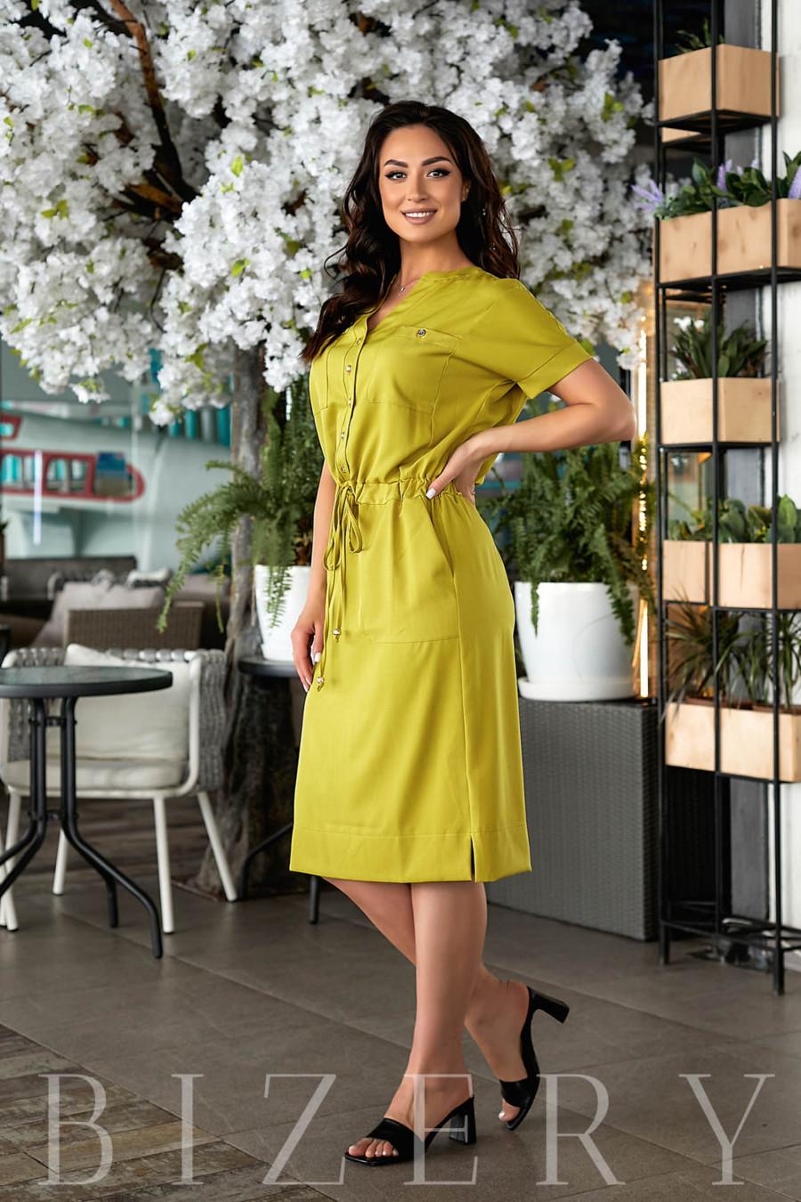 Летнее платье цвета лайм В839