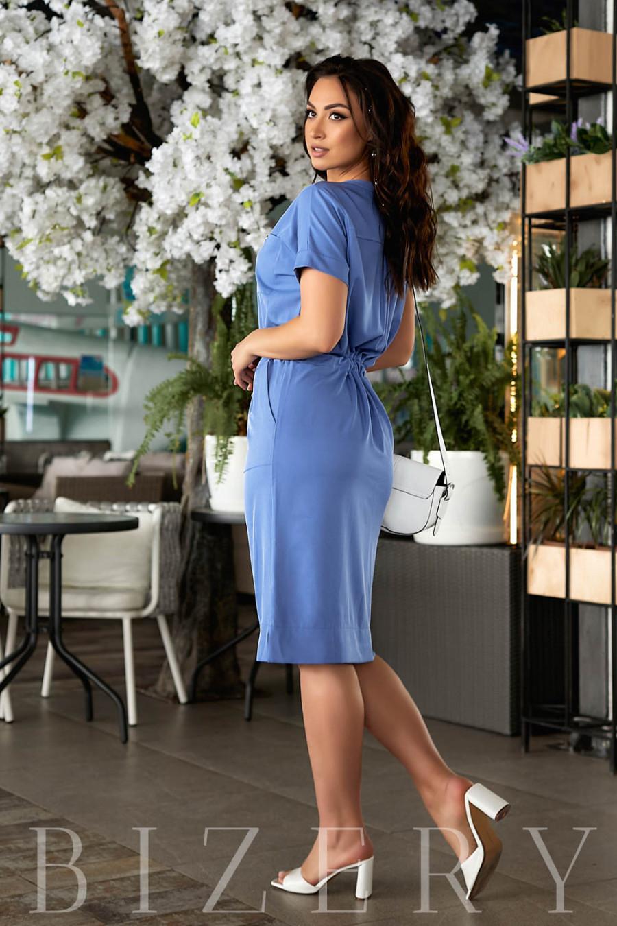 Летнее платье цвета джинс В841