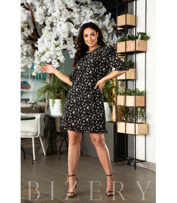 Коктейльное черное летнее платье с принтом В842