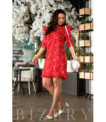 Коктейльное красное летнее платье с принтом В844
