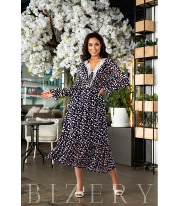 Нежное платье в цветочный фрезовый  принт В845