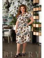 Повседневное льняное платье с принтом капучино В850