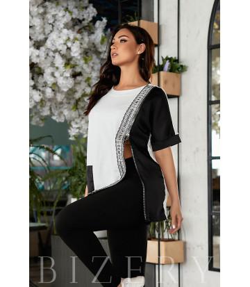 Стильный спортивный костюм черно-белый В856