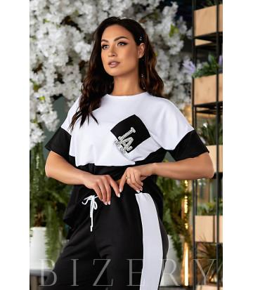 Стильный костюм спорт-шик с коротким рукавом черного цвета В858