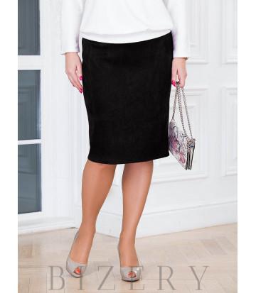 Женская чёрная юбка в деловом стиле B505