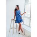 Платье мини голубое с вышивкой без рукавов