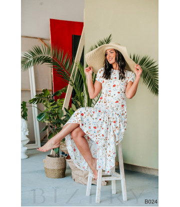 Платье белое с цветочным принтом макси из штапеля