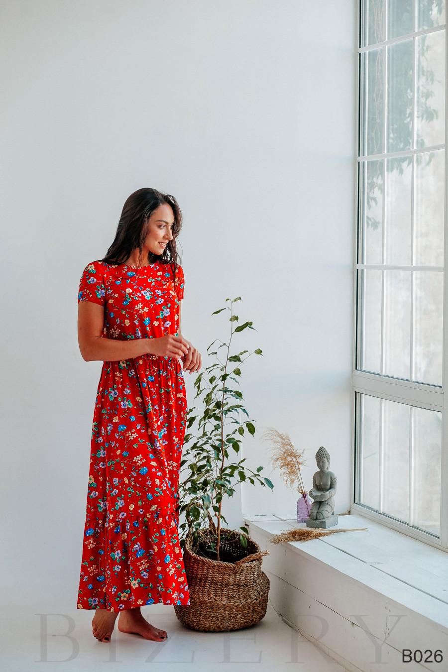 Платье красное с цветочным принтом макси из штапеля