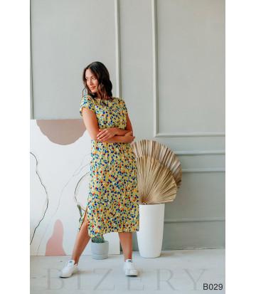 Платье повседневное миди желтое с цветочным принтом