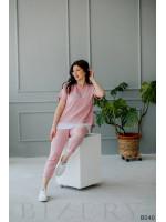 Повседневный костюм полу-спорт розовый из мягкого трикотажа