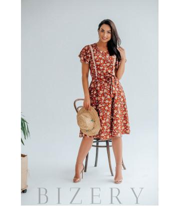 Платье для нежного образа терракотовое с цветочным принтом