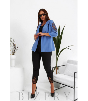 Стильный брючный костюм двойка в джинсовом цвете B1031