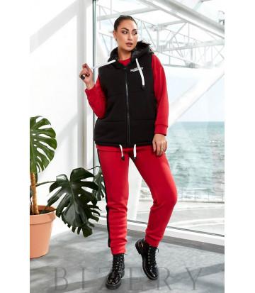 Утепленный костюм тройка с жилеткой цвет красный B1192
