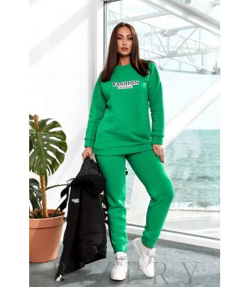 Утепленный костюм тройка с жилеткой цвет зеленый B1193