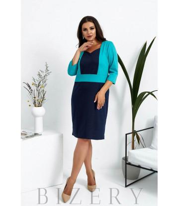 Трикотажное деловое платье большого размера темно-синее с бирюзовой вставкой B1027