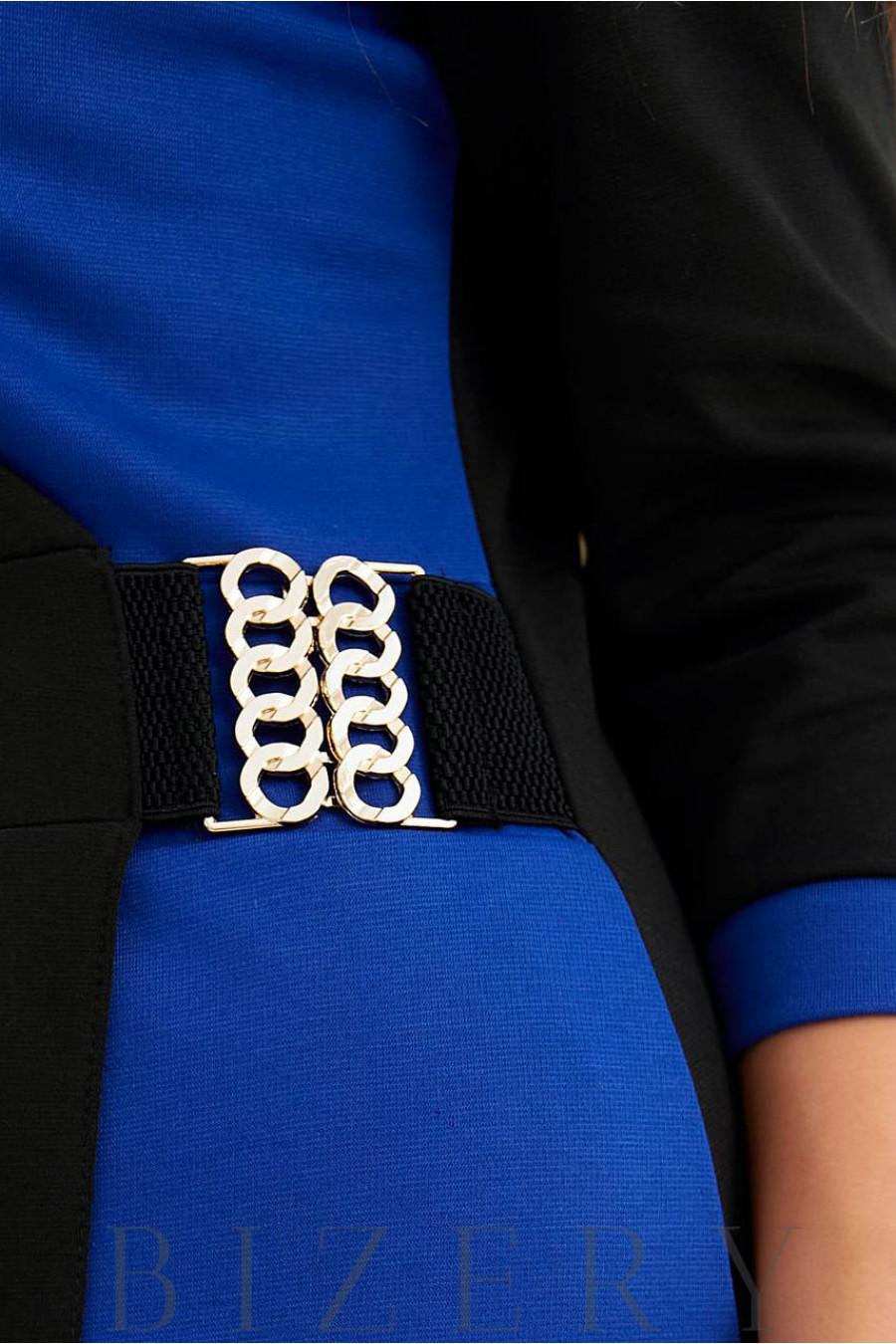 Элегантное платье на запах в деловом стиле синее B1030