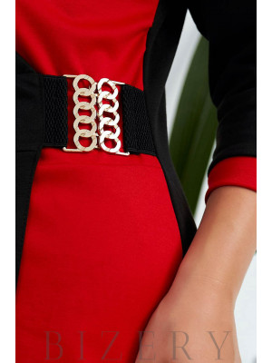 Элегантное платье на запах в деловом стиле красное B1029