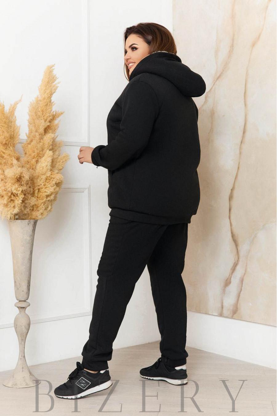 Утеплённый костюм в черном цвете B1132