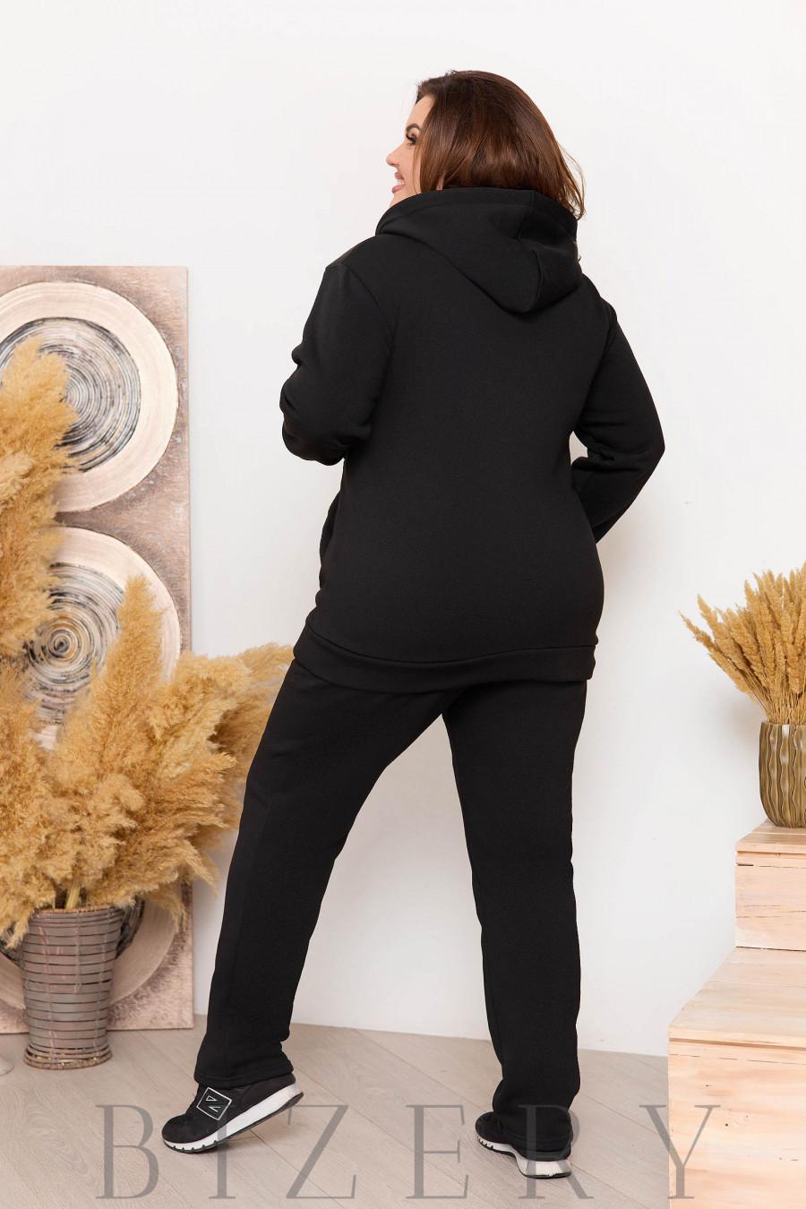 Утеплённый костюм на флисе черный B1150