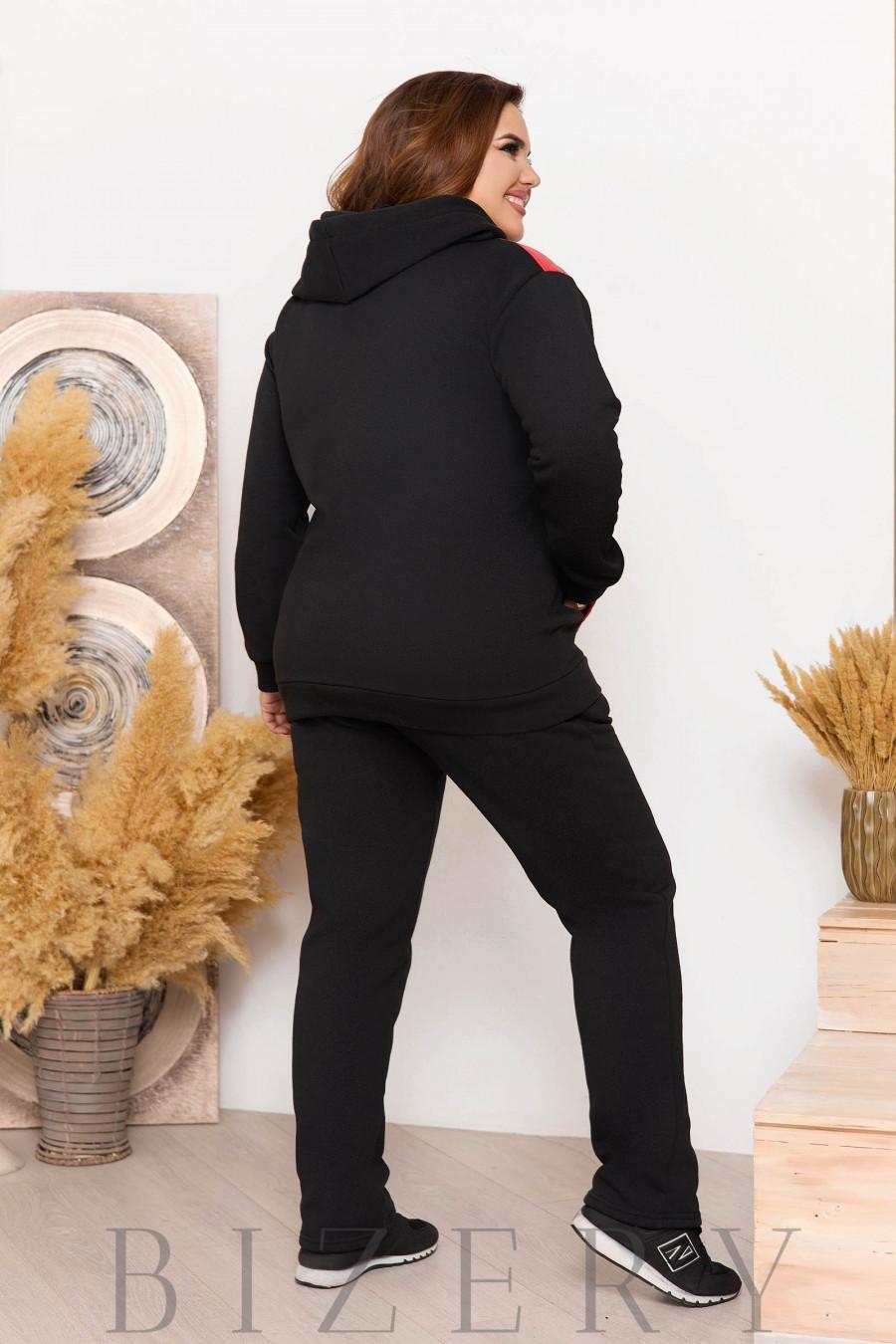 Утеплённый костюм на флисе красный B1151