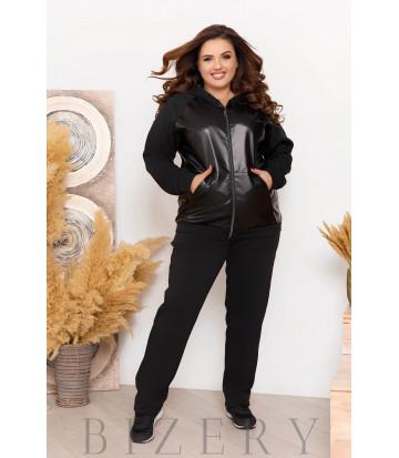 Повседневный теплый костюм цвет черный B1154